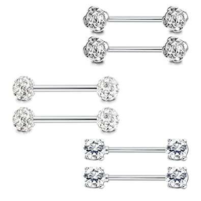 d7cd86f9ad6950 Amazon.com: LOYALLOOK 3Pairs 14G 316L Stainless Steel Nipple Tongue Rings  Barball Belly Button Ring CZ Body Piercing: Jewelry