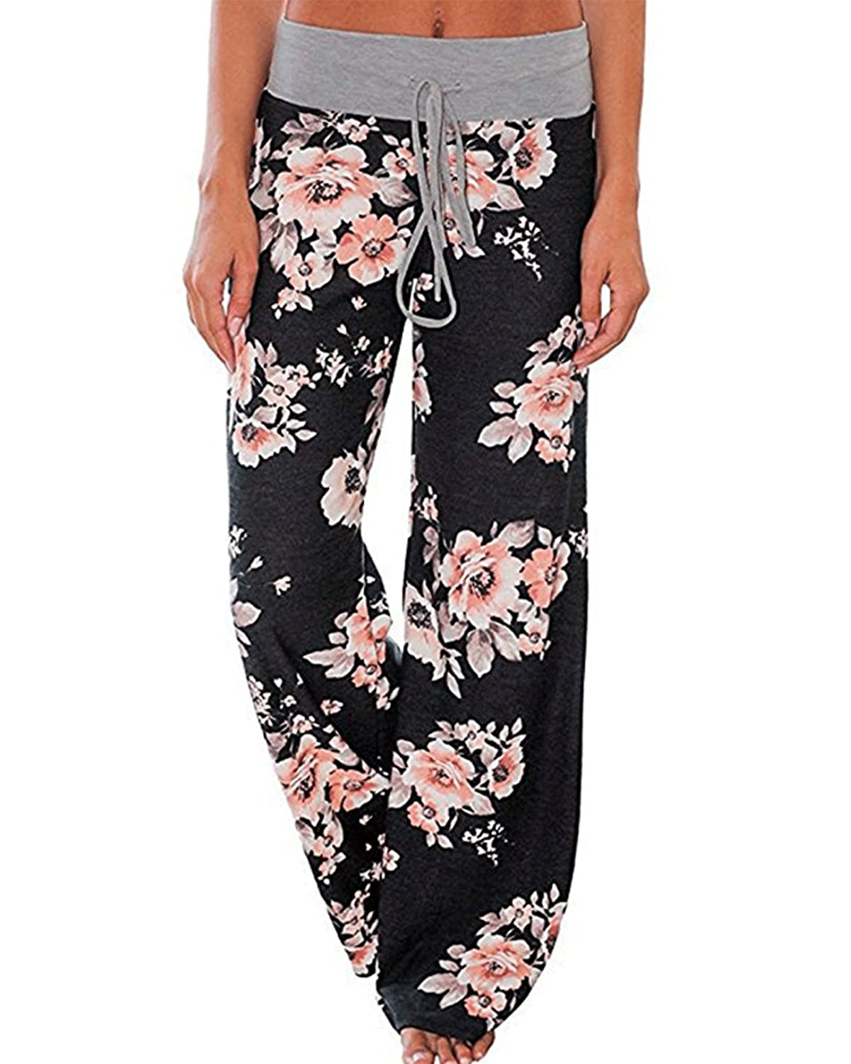c530155512 Features: Hight waist,adjustable waistband,wide leg, flora print,lounge  pants, cozy pants, pajama pants, baggy pants, yoga pants, beach pants, ...