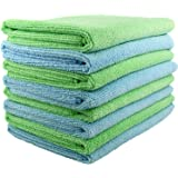 SecurOMax Thick Microfiber Cloth Towels (8 Pack) for Streak & Lint Free Household Cleaning, Dusting, Washing & Wiping - Large Size 15x15 Inches - 4 Blue + 4 Green (330 GSM)