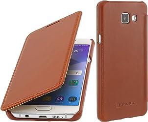 StilGut Book Type Case, Custodia in Pelle per Samsung Galaxy A5 (2016), Cognac