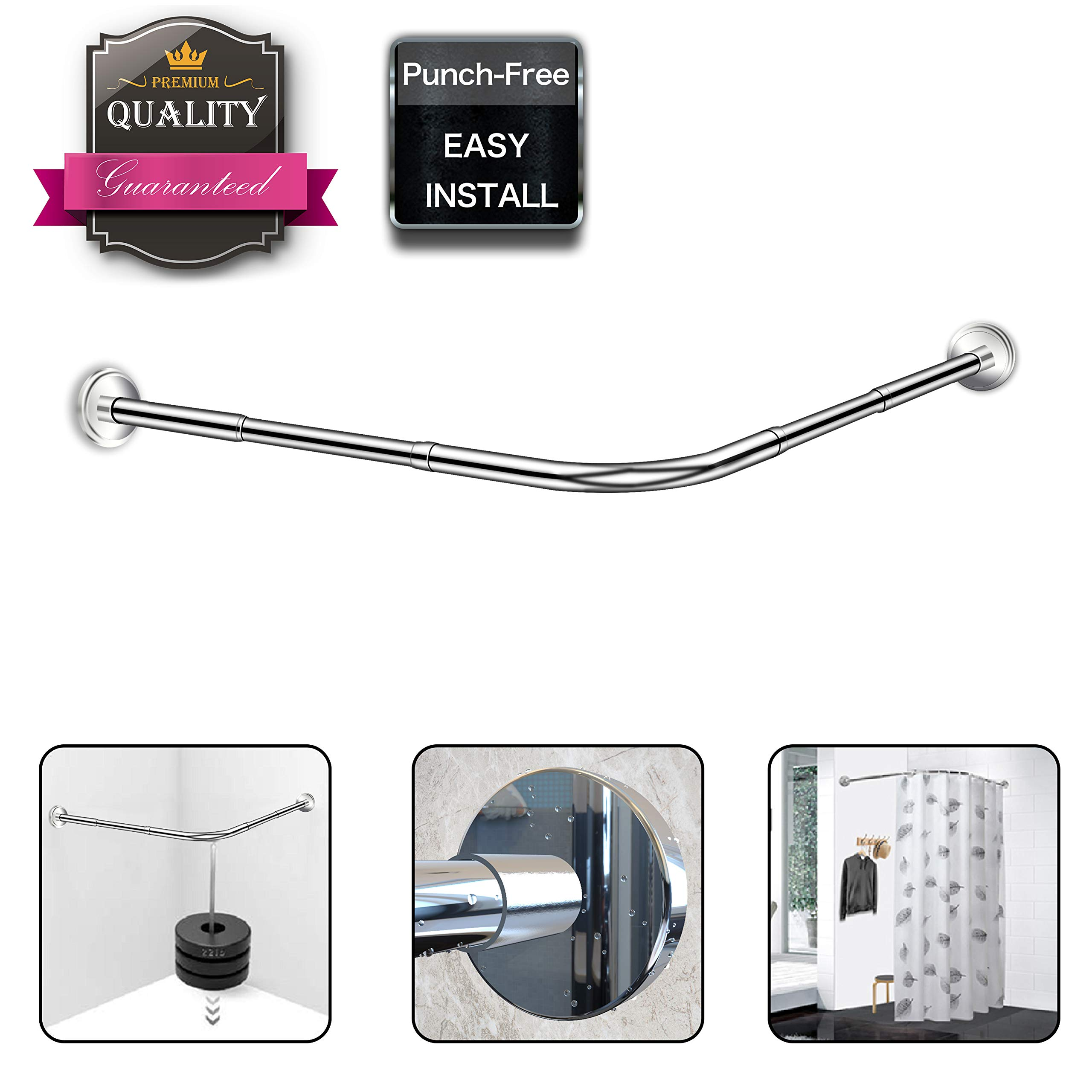 Begleri L Shaped Shower Curtain Rod - Curved Shower Curtain Rod Adjustable 29.53