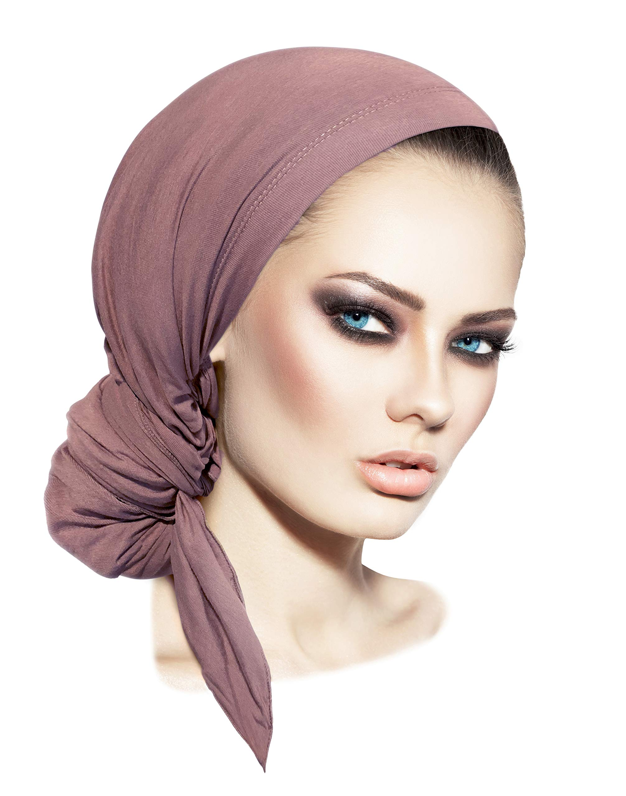 cc54dc79f19 Pre-Tied Head-Scarf Versatile Long Ties Bandana Tichel Headwear Turban Wrap  Soft Cotton