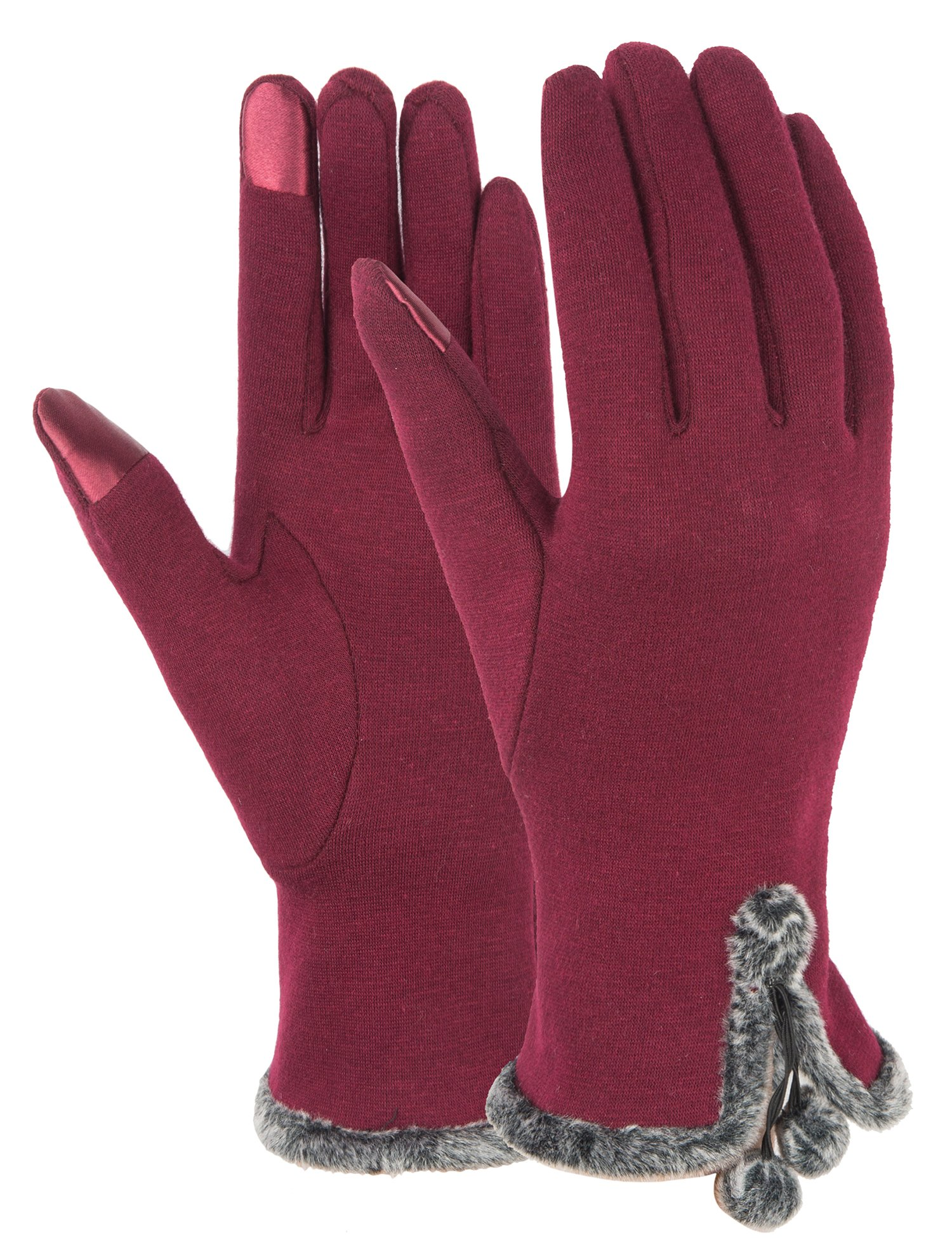 Touch Screen Gloves Women Lined Thick Winter Warm Gloves Outdoor Burgundy