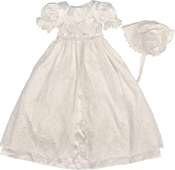 CHRISTENING GOWN AND BONNET BABY GIRLS WHITE IVORY BAPTISM DRESS 3-6 6-12 MTHS
