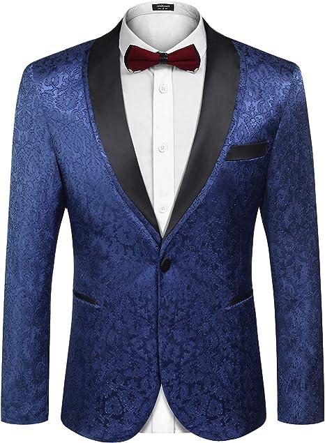 Mens Shawl Lapel One Button Tuxedo Jacket Slim Fit Prom Party Coat Wedding Coat Casual Suit Jacket