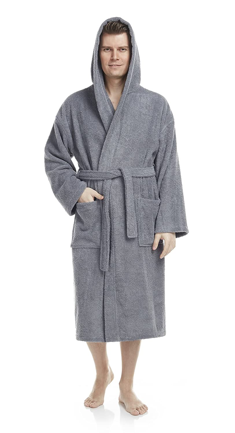 Arus Men's Classic Hooded Bathrobe Turkish Cotton Terry Cloth Robe Arus Marketing
