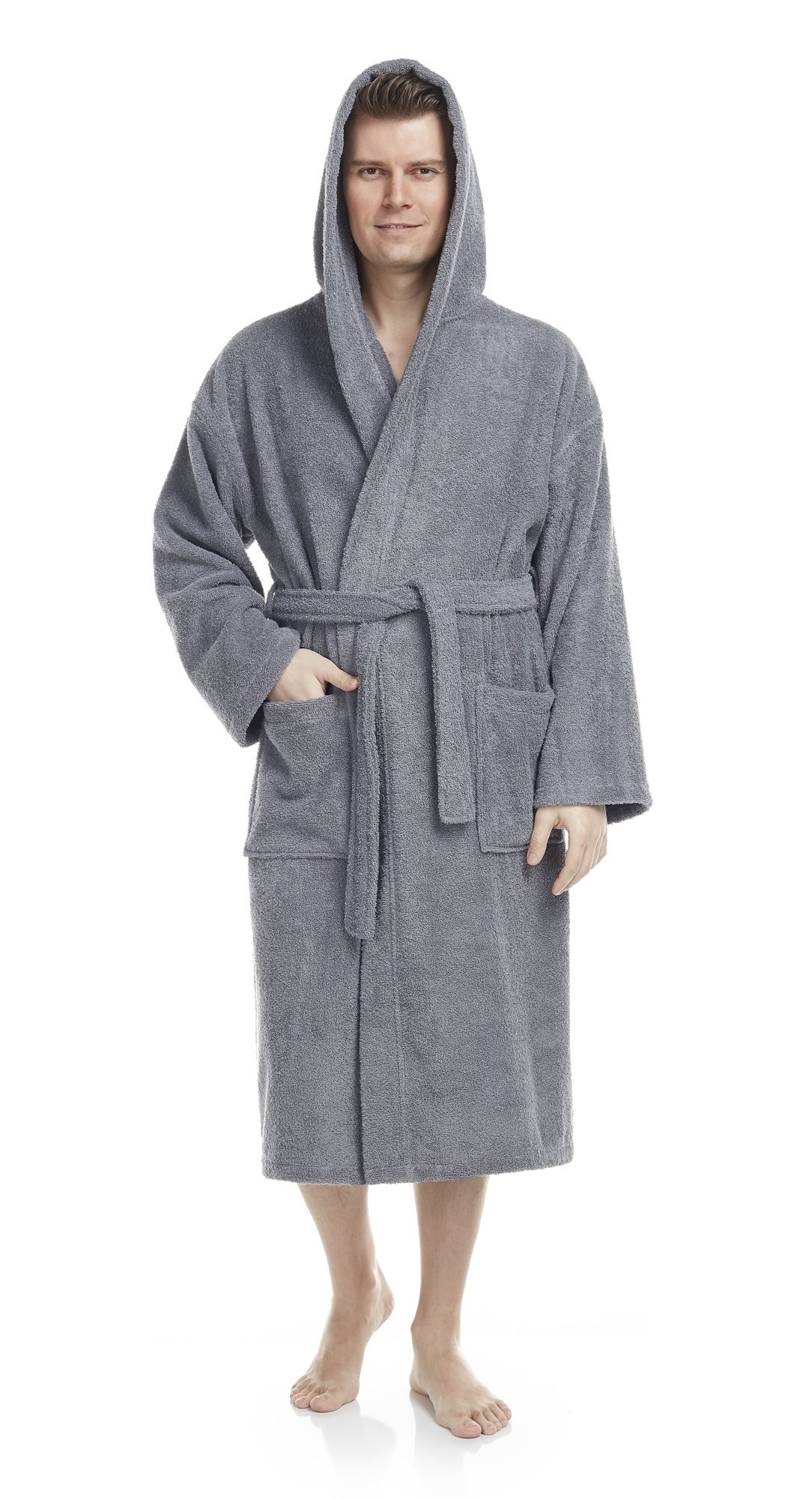 Arus Men's Classic Hooded Bathrobe Turkish Cotton Terry Cloth Robe (XXL,Gray) by Arus