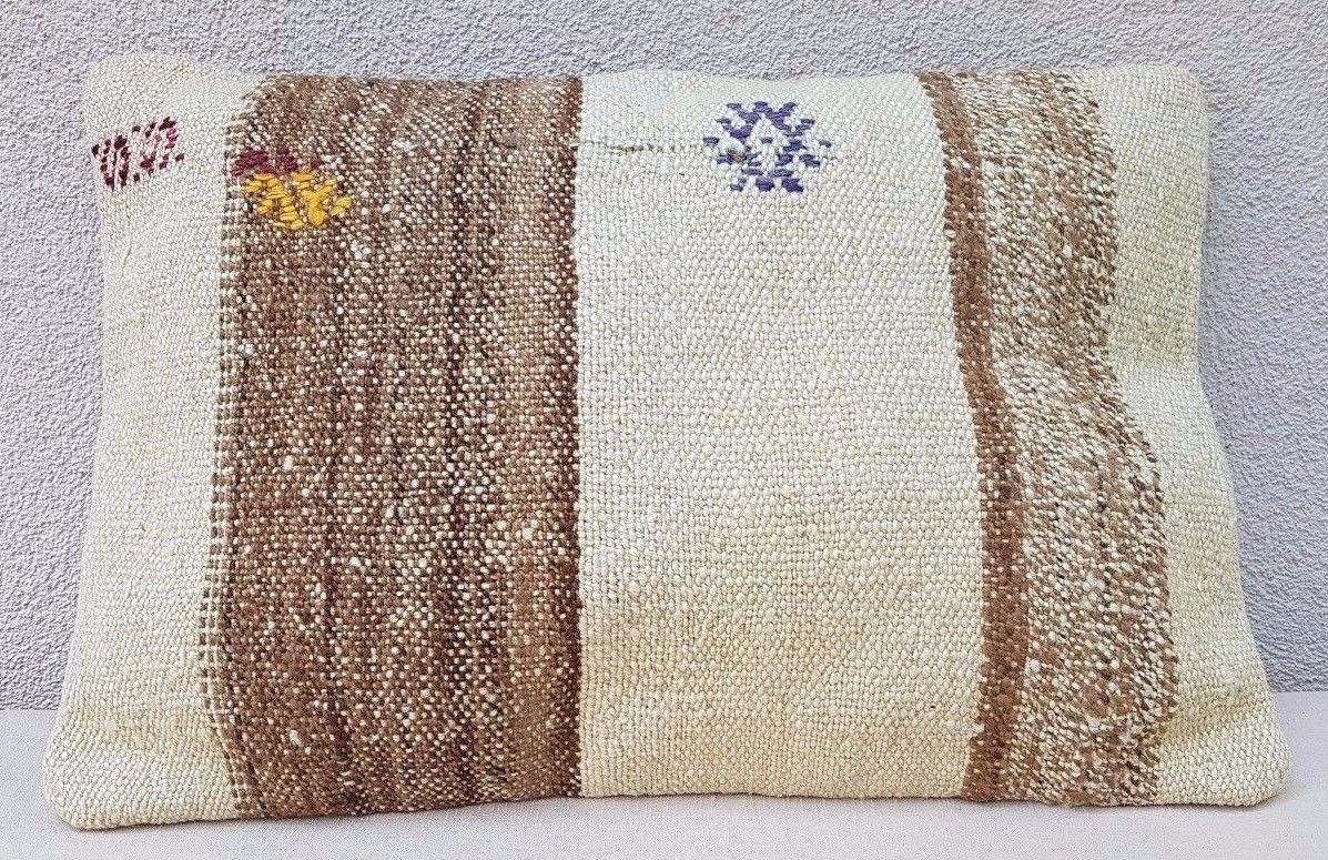 ボヘミアンスタイルKilim枕カバートルコ刺繍ソファフロアクッション14 x 20