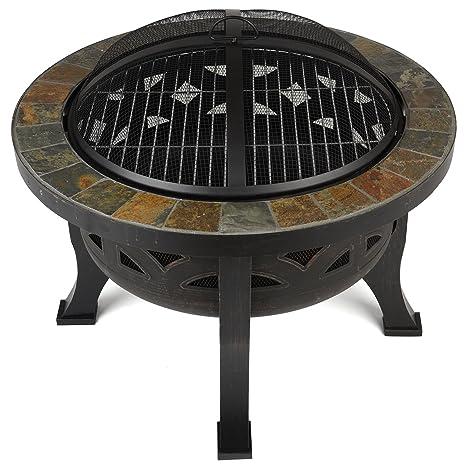 La Hacienda pizarra azulejos calentador estufa redonda Garden Fire Pit al aire libre barbacoa
