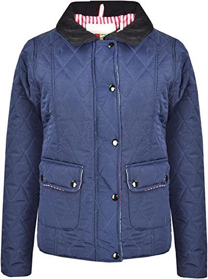 A2Z 4 Kids/® Kids Jackets Girls Navy Designers Quilted Padded Collar Buttoned Zipped Jacket Warm Thick Coats Age 5 6 7 8 9 10 11 12 13 Years