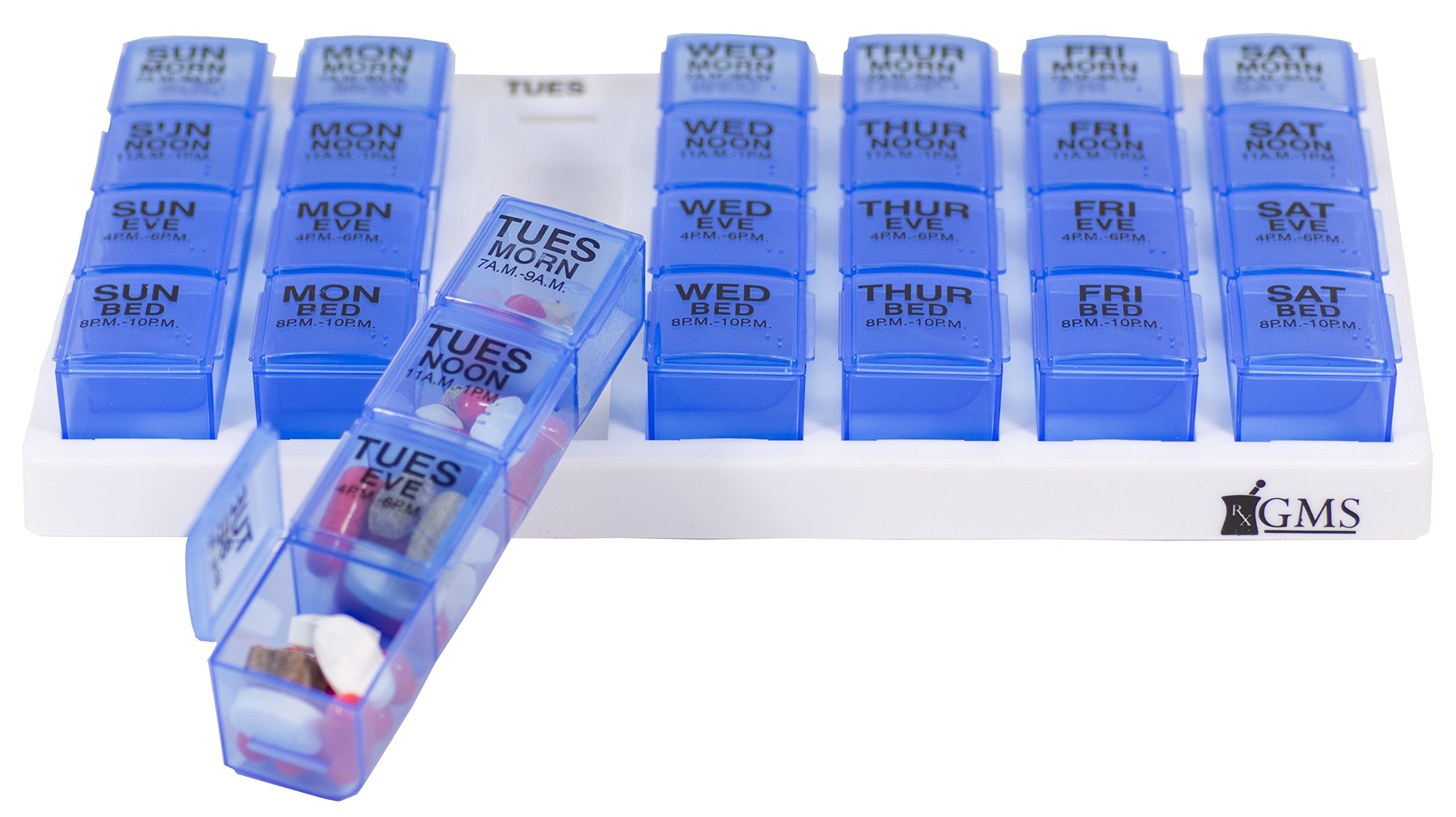 Gms 7 Day Pill Organizer Tray - Large with Removable Daily Pill Boxes with 4 Compartments Each (Blue) by GMS Group Medical Supply, LLC