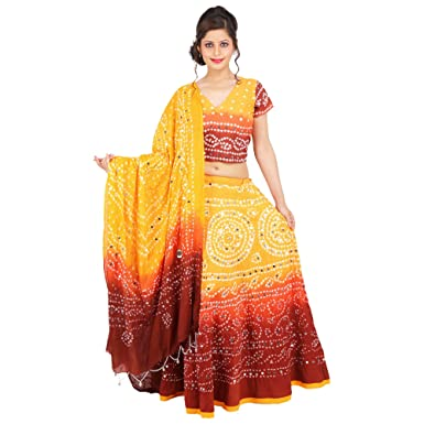 4cfc86a9da Sunshine Ecommerce Elegant Multicolorcolor Cotton Handmade Bhandej & Sequin  Work Lehenga Choli: Amazon.in: Clothing & Accessories