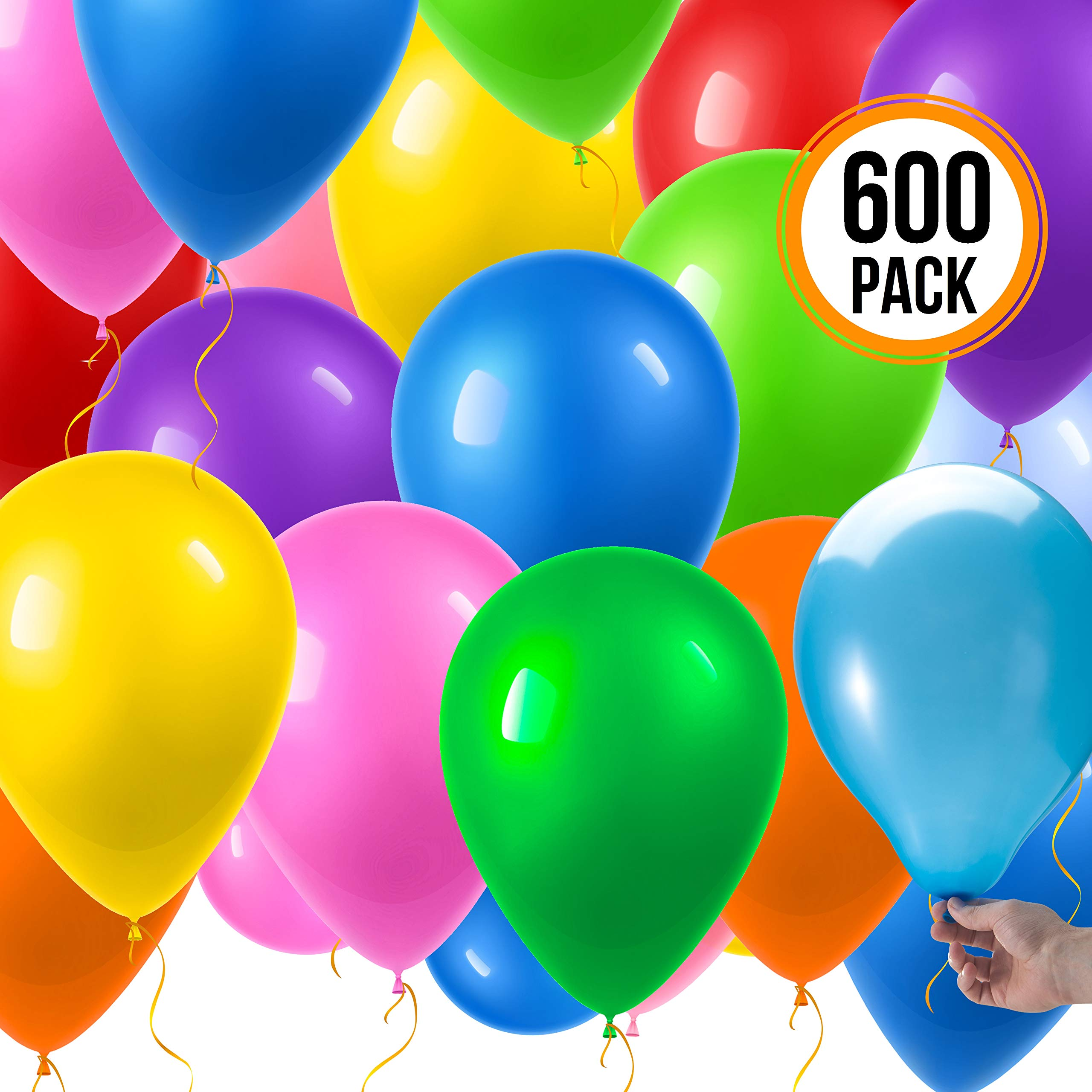 Prextex 600 Party Balloons 12 Inch 10 Assorted Rainbow Colors - Bulk Pack of Strong Latex Balloons for Party Decorations, Birthday Parties Supplies or Arch Decor - Helium Quality by Prextex (Image #3)