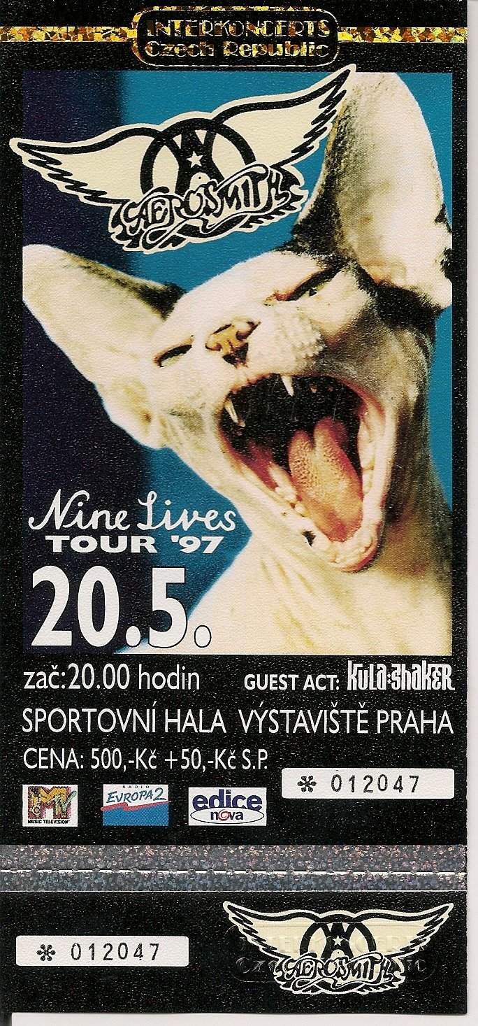 1997 UNUSED AEROSMITH FULL CONCERT TICKET Czech Republic Nine Lives Tour