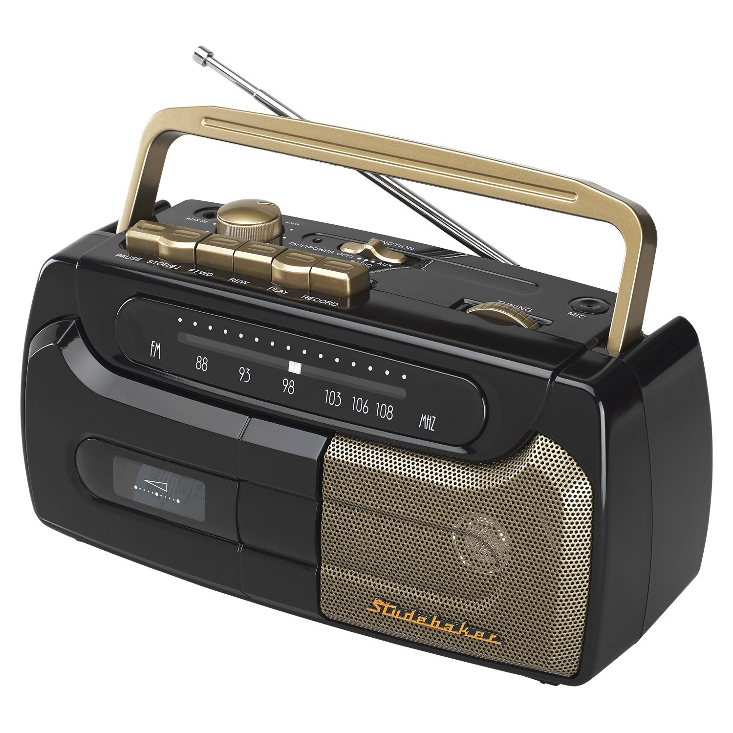 Studebaker Portable Cassette Recorder and Player with FM Radio Aux Input for External Devices