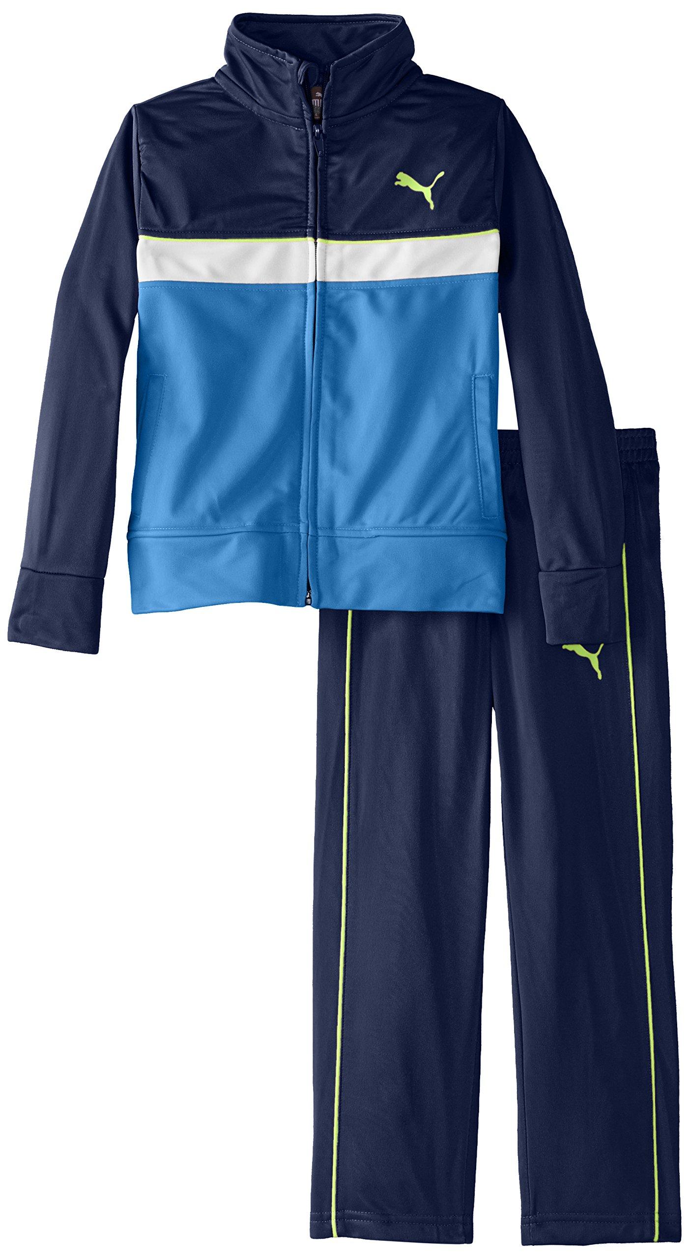PUMA Little Boys' Tricot Jacket and Pant Set , Sky Blue, 4