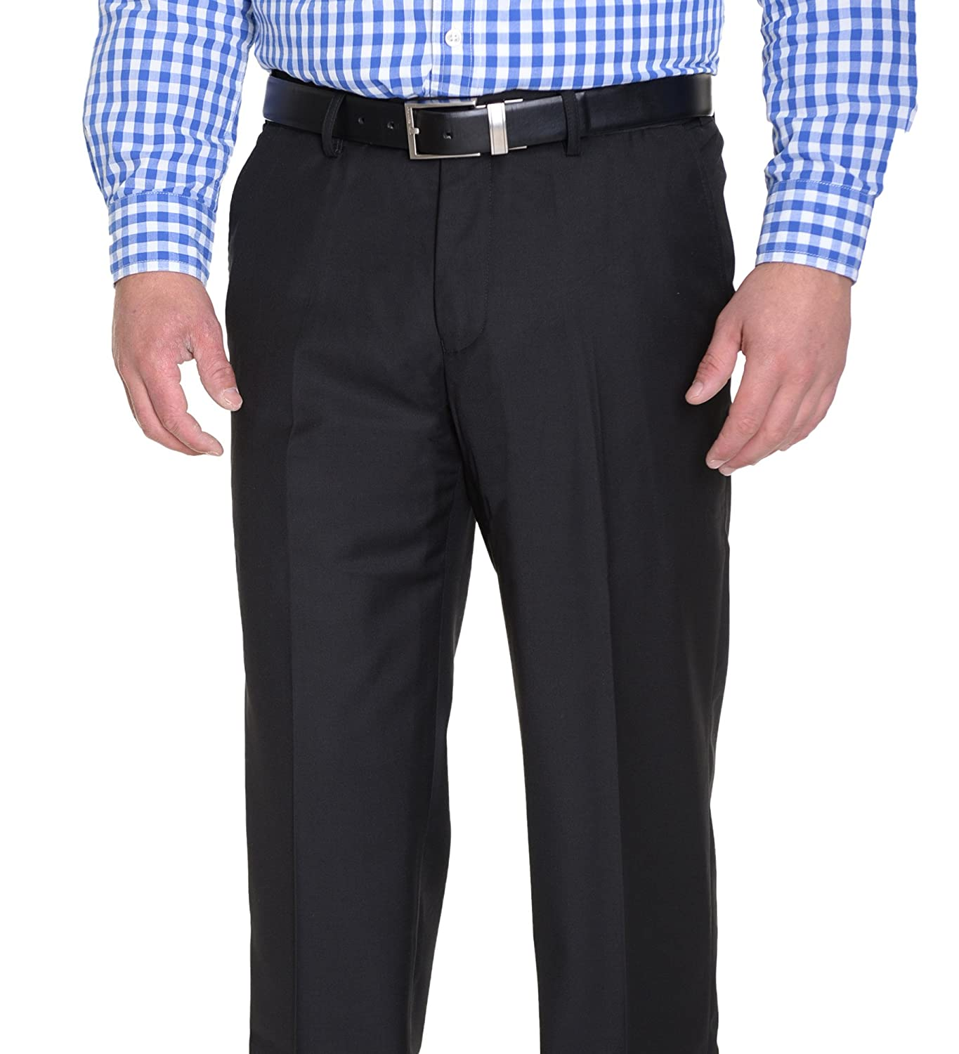 WSPLYSPJY Mens Business Classic Straight Slim Fit Solid Color Plain Flat-Front Chino Pants