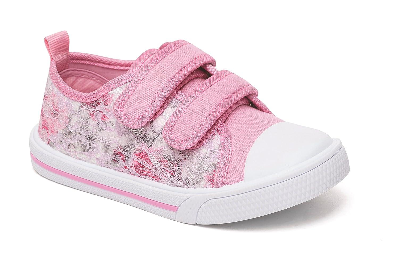 Las niñas lienzo zapatillas bombas Plimsole verano tamaño edad Chatterbox azul rosa, color Rosa, talla 38 EU Niño