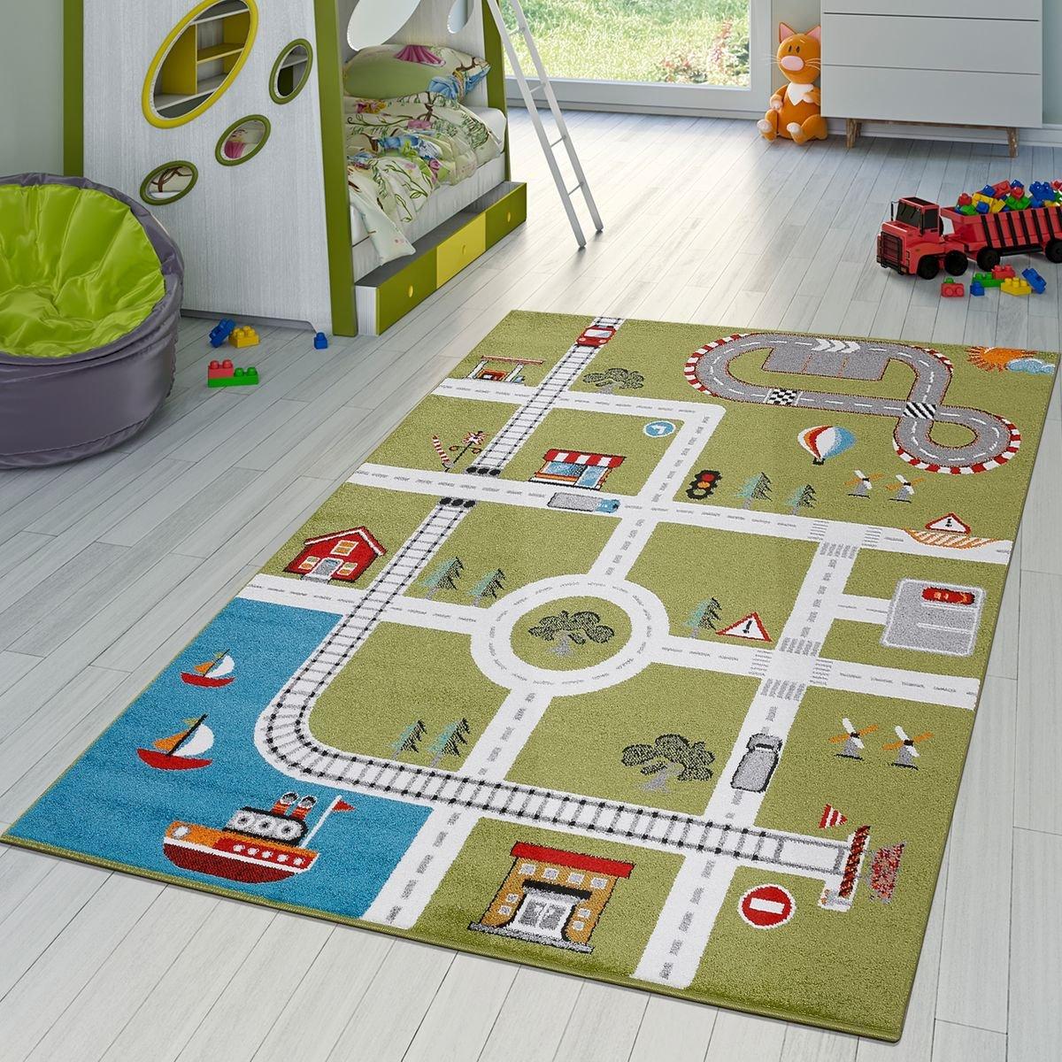 Kinderzimmer Teppich Mit Mit Mit Design City Hafen Stadt Straßen Spielteppich In Grün, Größe 120x170 cm 96ef34