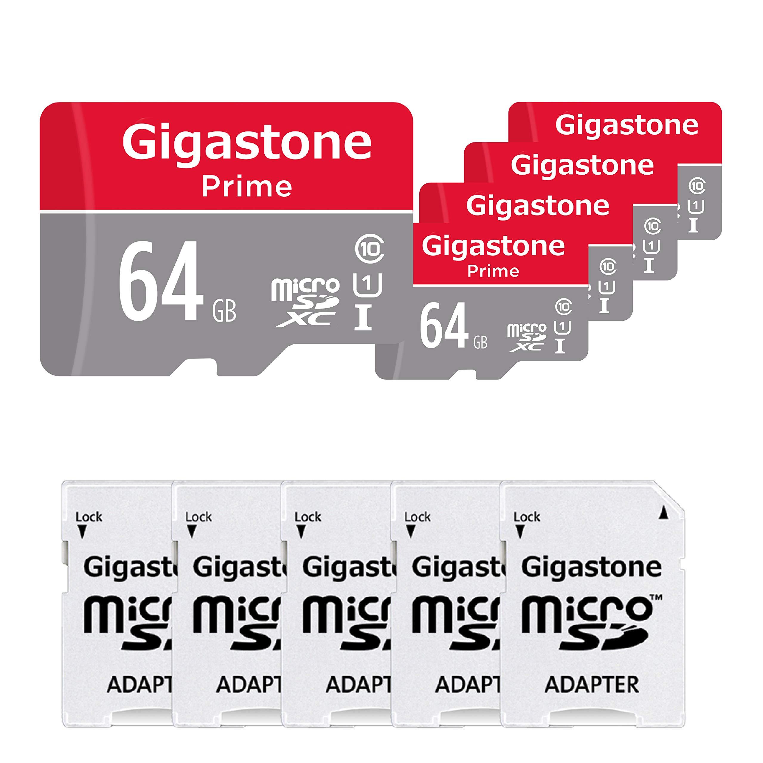 Gigastone Micro SD Card 64GB 5-Pack Micro SDXC U1 C10 with Mini Case and MicroSD SD Adapter High Speed Memory Card C10 Class 10 UHS-I Full HD Video Nintendo Gopro Camera Samsung Canon Nikon DJI Drone by Gigastone