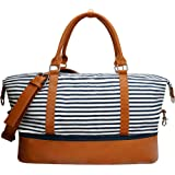 Weekender bag Duffle Carry-on luggage overnight Canvas & PU leather For Women lady with Shoe Compartment for Travel Medium Gi