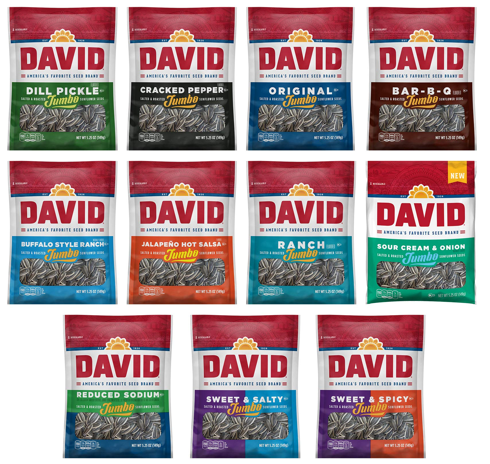 Peaceful Squirrel Variety, DAVID Sunflower Seeds jumbo Variety of 11 Flavors - 5.25 Ounce by Peaceful Squirrel