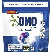 Omo Laundry Liquid Triple Capsules, 3 in 1 Capsule, Active 28 Pack