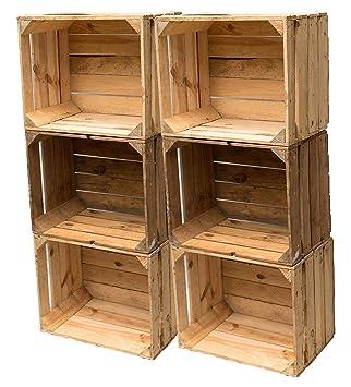 BLUMENKÜBELXXL Vintage Madera Cajas Fruta (cajón-estantería Used Look Estable y Limpiar (Juego de 6): Amazon.es: Juguetes y juegos