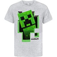 Minecraft Camiseta para niños Green Creeper Kids Top Gris de Manga Corta Mojang
