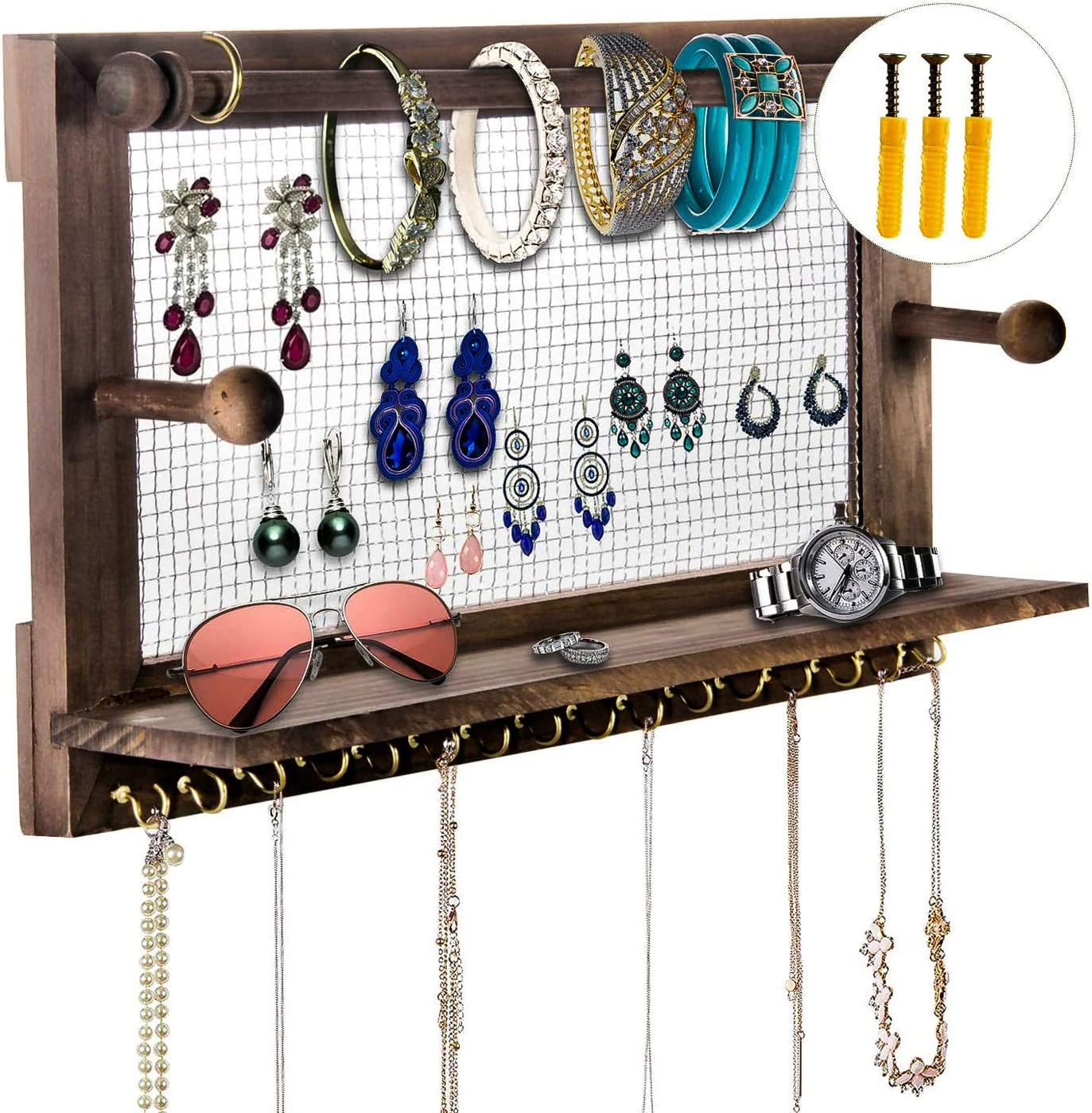 POZEAN Rustic Jewelry Organizer Wall Mounted Wooden Jewelry Holder
