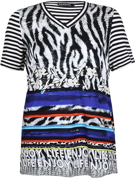see you Camiseta en V para mujer en mezcla de patrones y ...