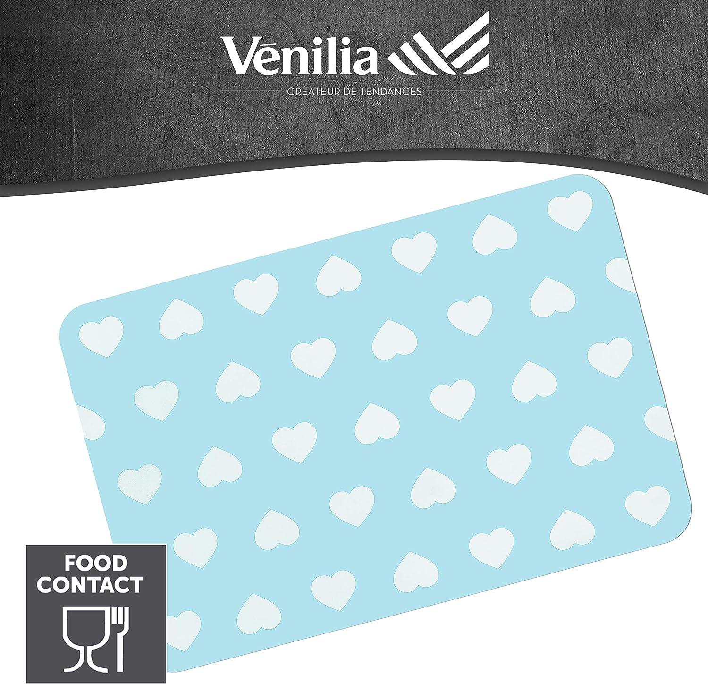 4 Pezzi 30 x 450 cm Tovaglietta per Sala da Pranzo a Prova di Cibo Venilia Blue Motif Stampate Cuore Blu 59049 30 x 45 cm Tavola