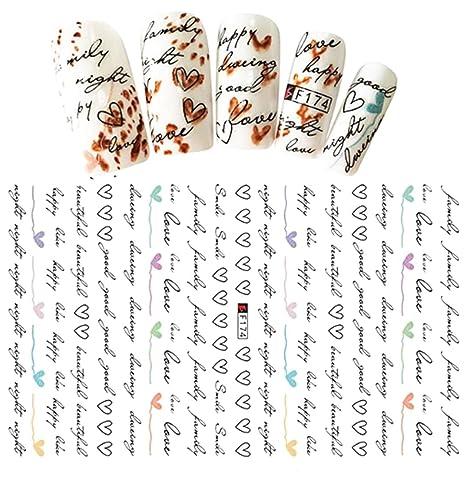 DS082 handwrite palabra letras XOXO LOVE autoadhesivos Nail Art pegatinas transferencia de agua Decals Decoración Wraps