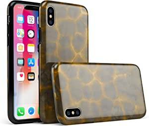Dark Gray and Golden Honeycomb iPhone X Swappable Tough Two-Piece Hybrid Case - Matte Shell/White Liner
