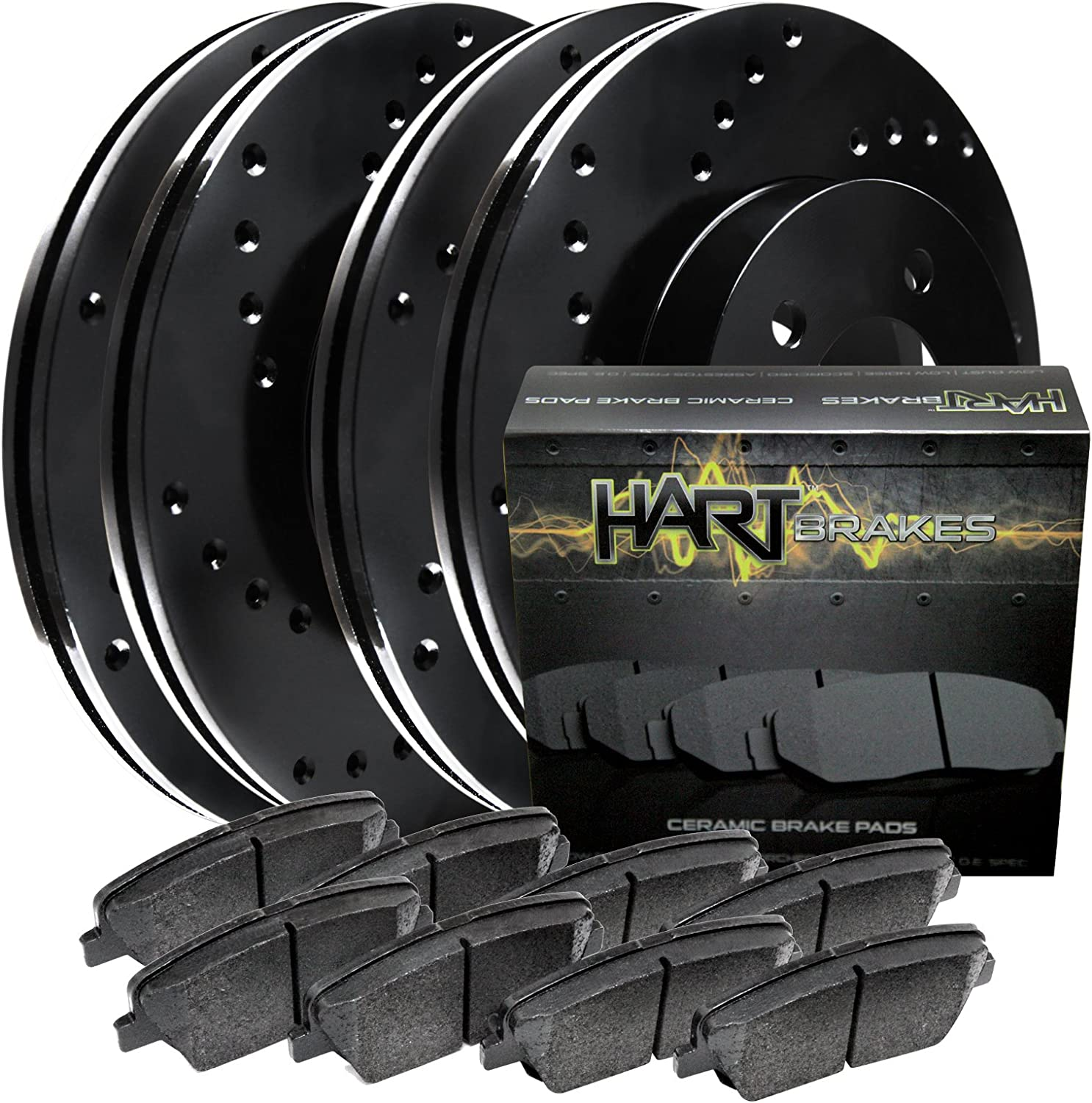 [FULL KIT] BLACK HART CROSS-DRILLED BRAKE ROTORS AND CERAMIC PADS BHXC.63057.02