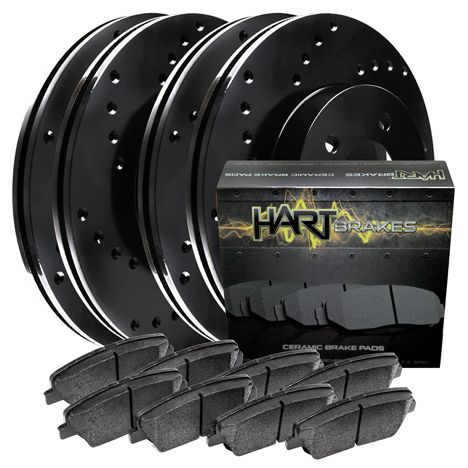 For 2004-2010 Toyota Sienna Front Rear Drill Slot Brake Rotors+Ceramic Pads