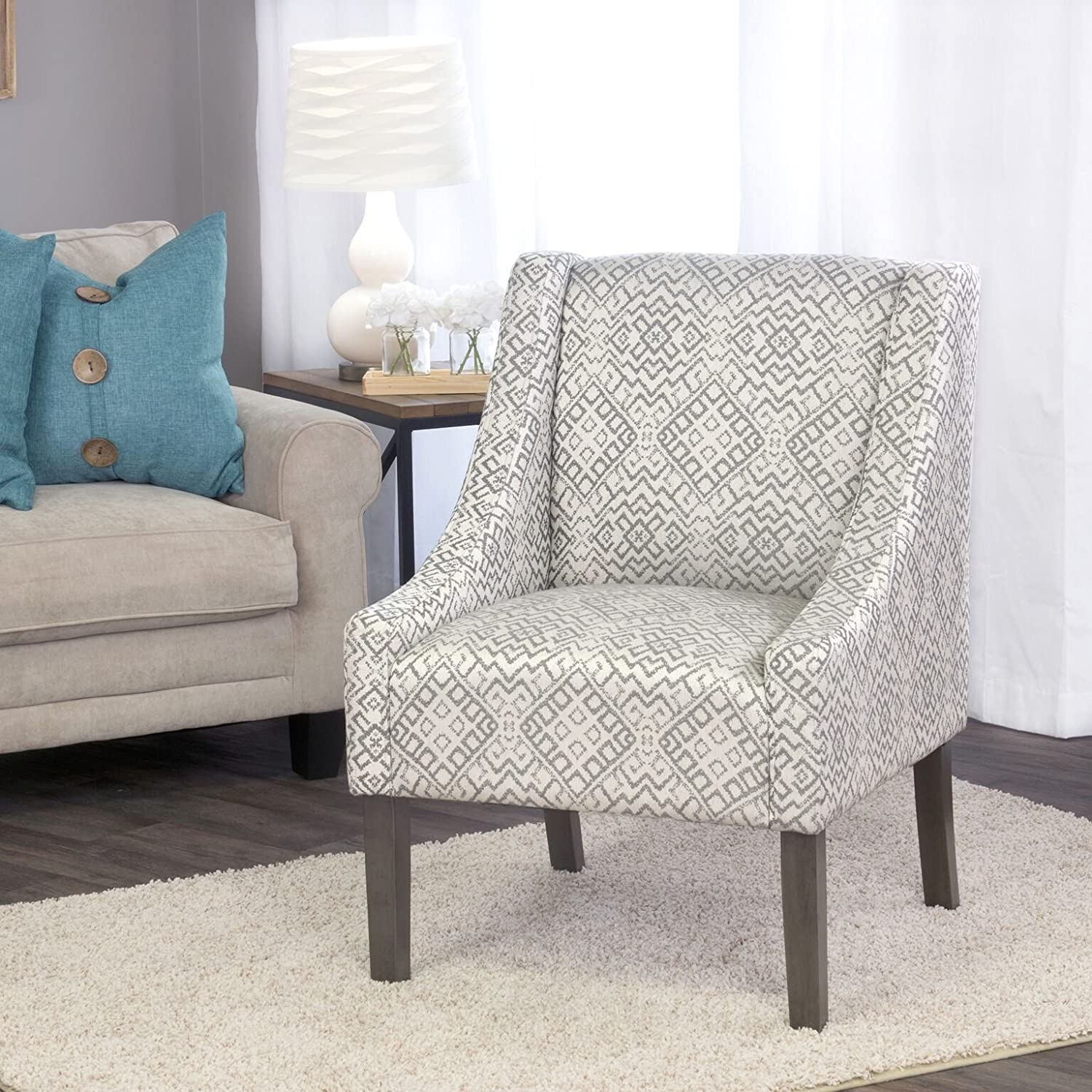 HomePop Swoop Arm Accent Wingback Chair