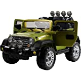 NEW DESIGN 12V TWIN MOTORS KIDS RIDE ON JEEP WITH 4 WYAS PARENTAL REMOTE CONTROL UP GRADED WITH A VOLTAGE METER+ openable doors + front and back body suspensions+mp3 input + 2 speed option (JEEP GREEN)