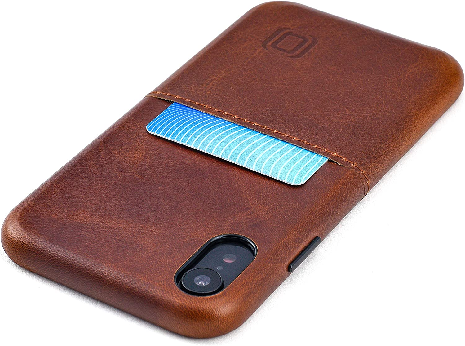 Dockem iPhone XR Virtuosa M1 Wallet Case: Built-in Metal Plate for Magnetic Mounting with Top Grain Genuine Leather: M-Series [Brown]