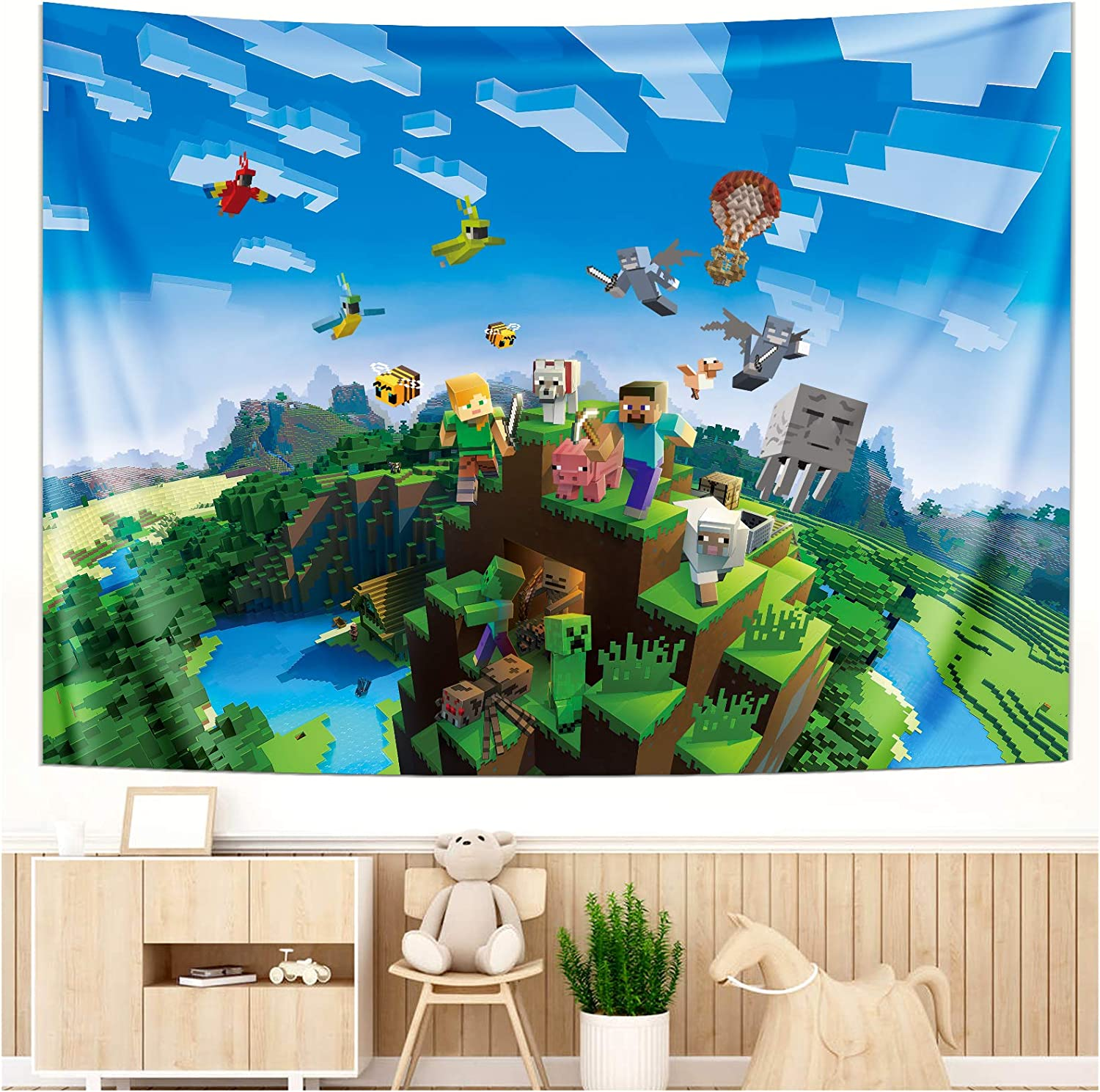Wall Tapestry - Popular Video Game Enthusiast Print Minecraft Wall Hanging Blanket Handicrafts Polyester Fabric Wall Décor - Home Bedroom Living Room Dorm Decorations