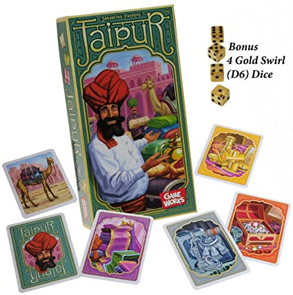 Amazon.com: Jaipur Card Game _ with 4 Bonus Gold Swirl Dice ...