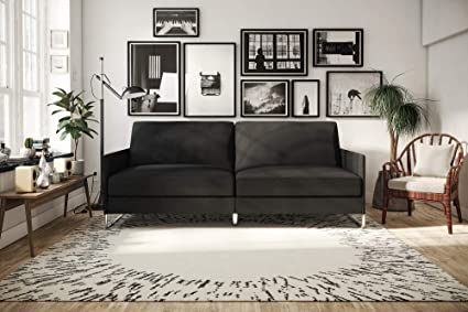 Amazon.com: DHP Pembroke Convertible Futon Sofa Bed, Grey Linen ...