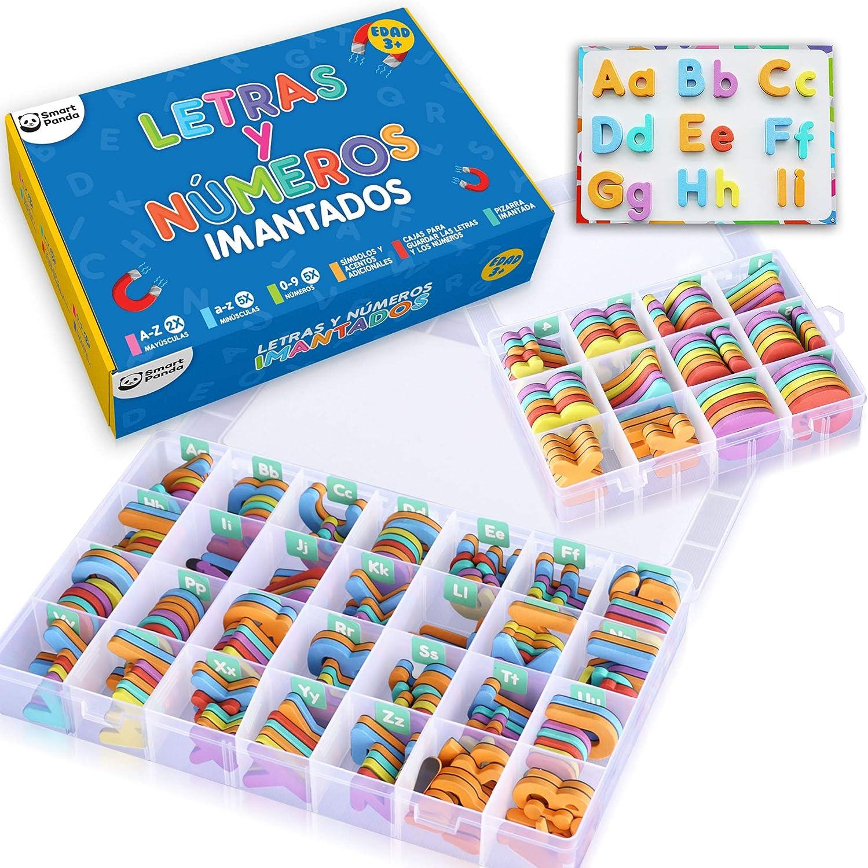 Letras y Números Magnéticos para Niños - Conjunto Completo: 182 Letras y 81 Números y Símbolos - Imanes Gruesos de Espuma para la Nevera - Incluye 2 Cajas, Pizarra Magnética, Rotuladores y