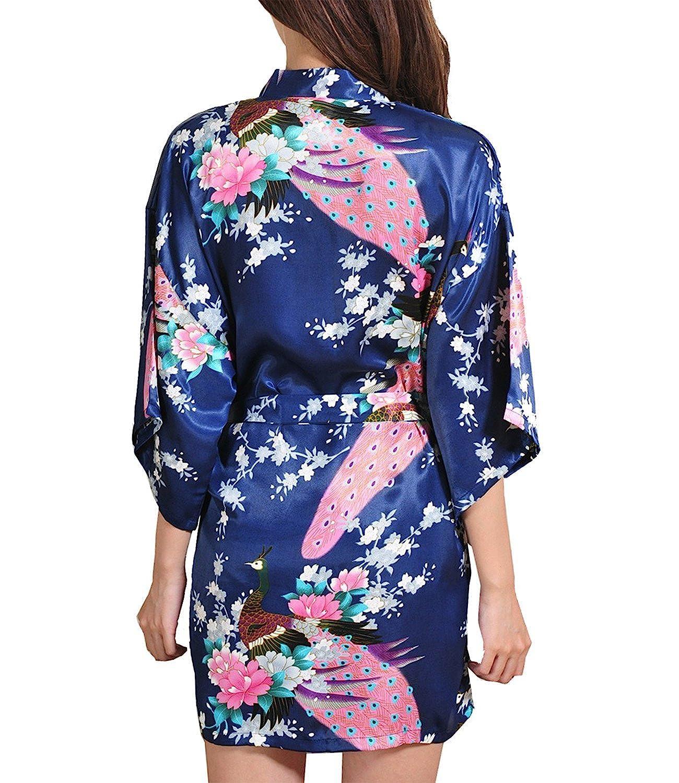 ECHERY Mujer Albornoces Kimono Pavón Flores De Satén De Seda Batas Ropa de Dormir Dama de Honor Boda Fiesta Pijamas Corto: Amazon.es: Ropa y accesorios