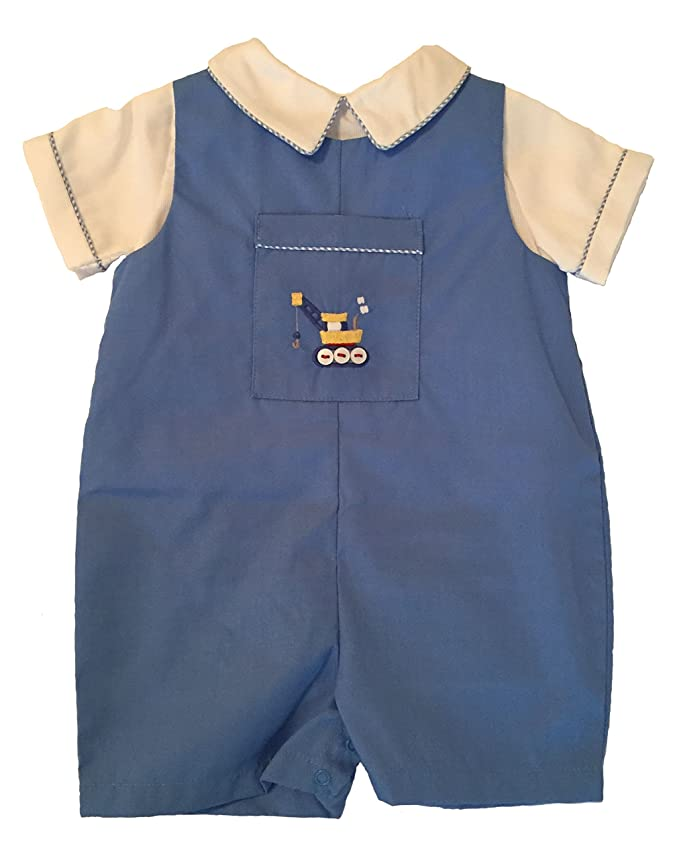1940s Children's Clothing: Girls, Boys, Baby, Toddler Infant Toddler Boys Blue Holiday Special Occasion Romper with Front Pocket $26.18 AT vintagedancer.com