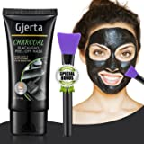 Gjerta Blackhead Remover Mask, 50ml/2.11oz Activated Bamboo Charcoal Peel-off Facial Mask for Acne and Blemishes, Deep Cleansing Black Mask with Facial Brush(60g)