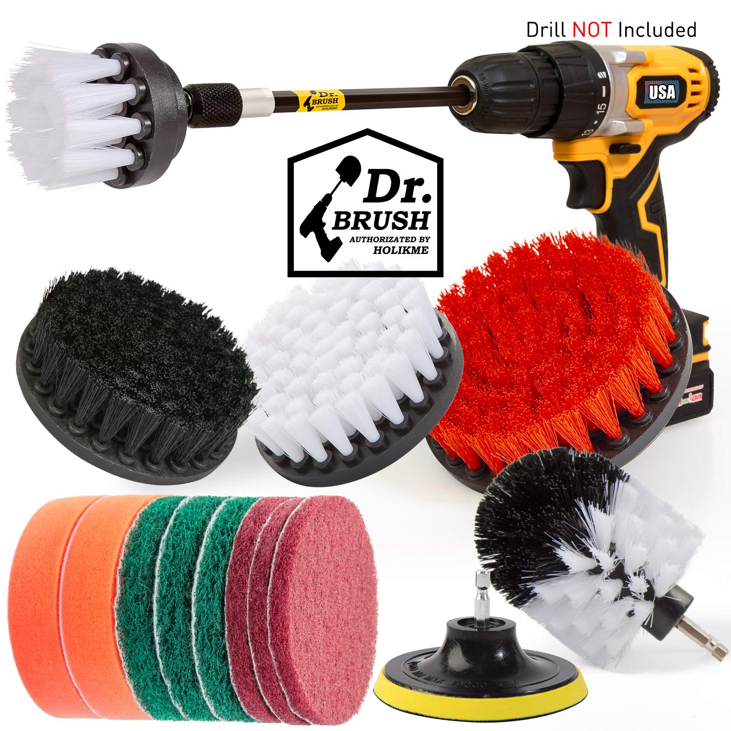 Holikme 15Piece Drill Brush Attachments Set,Black Scrub Pads & Sponge, Power Scrubber Brush with Extend Long Attachment…