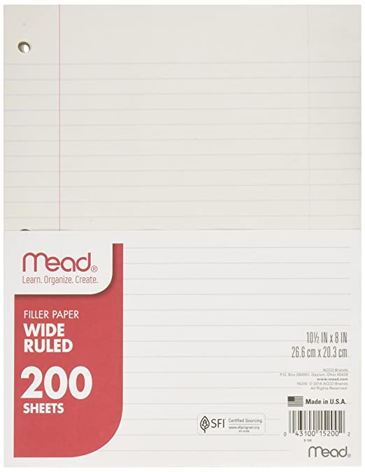 Amazon.com : Mead Filler Paper, Loose Leaf Paper, Wide Ruled, 200 ...