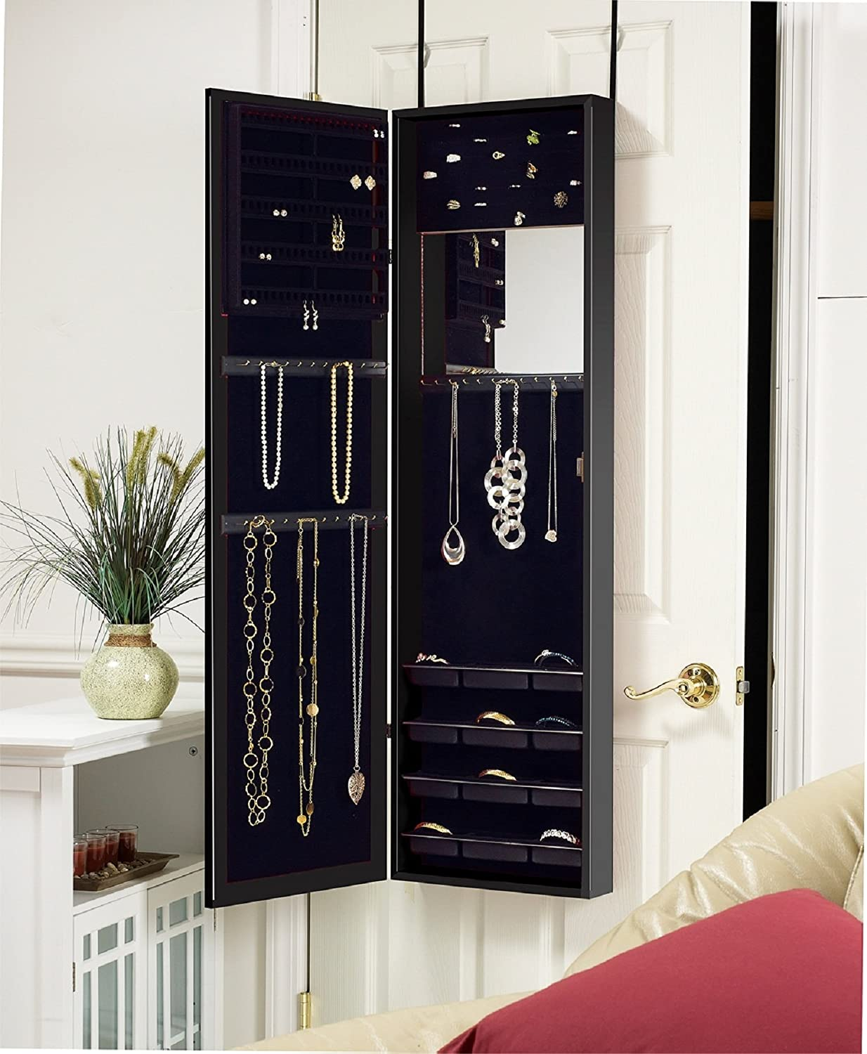 Amazon.com: Plaza Astoria Wall/Door-Mount Jewelry Armoire, Black ...