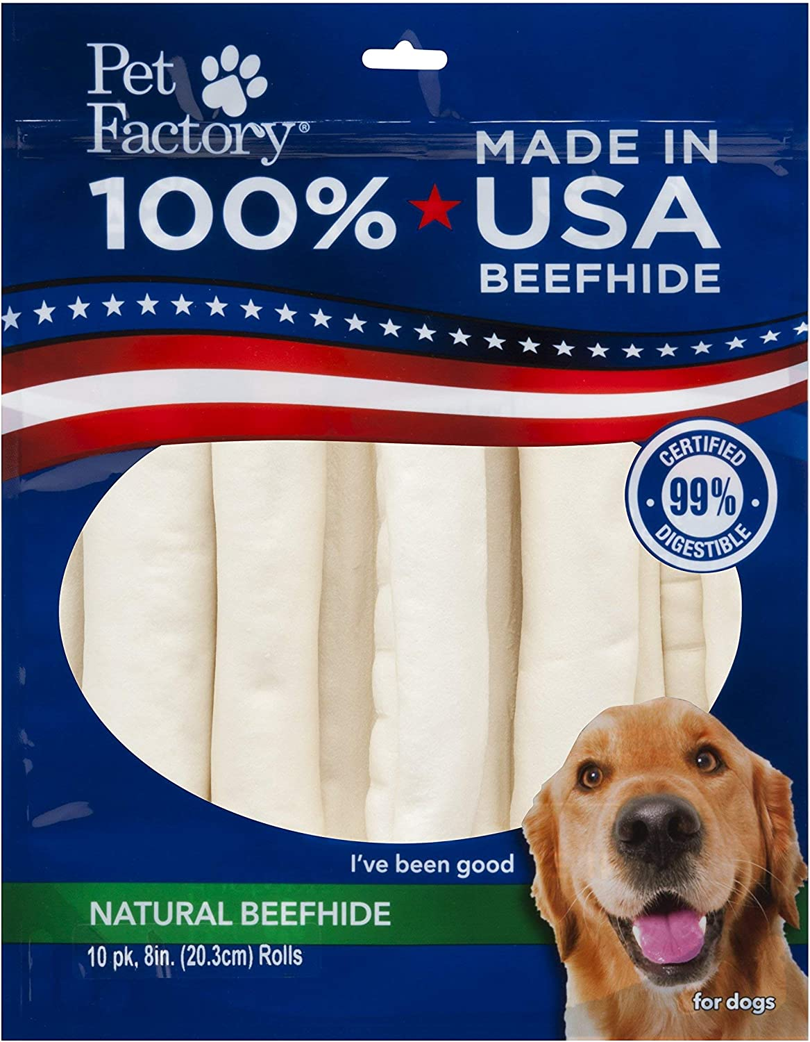 Pet Factory Natural Beefhide Dog Treats 78208, Made in USA, Digestive 8-Inch Retriever Dog Chew Rolls, No Artificial Preservatives or Additives, 10-Pack. Resealable Package